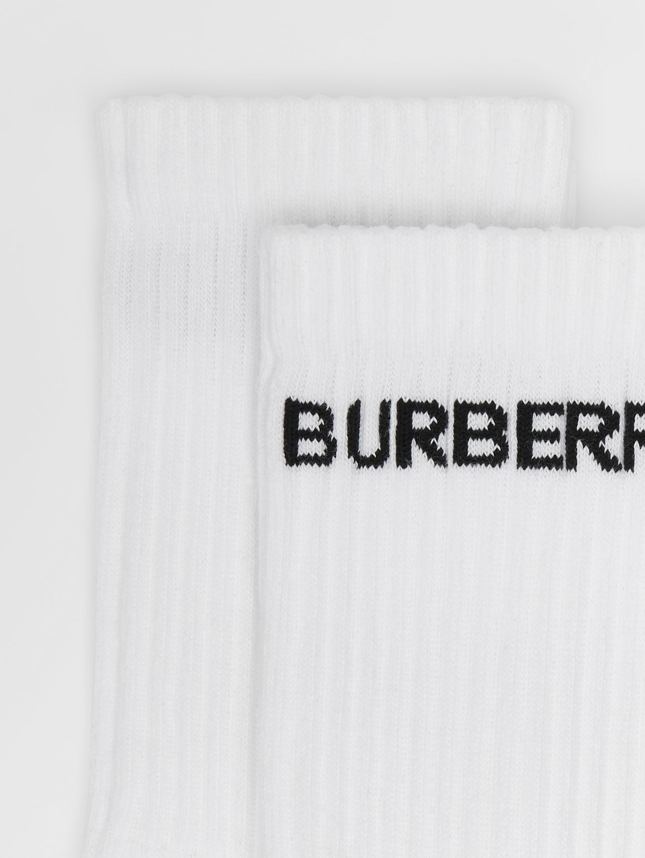 Logo Intarsia Technical Stretch Cotton Socks in White