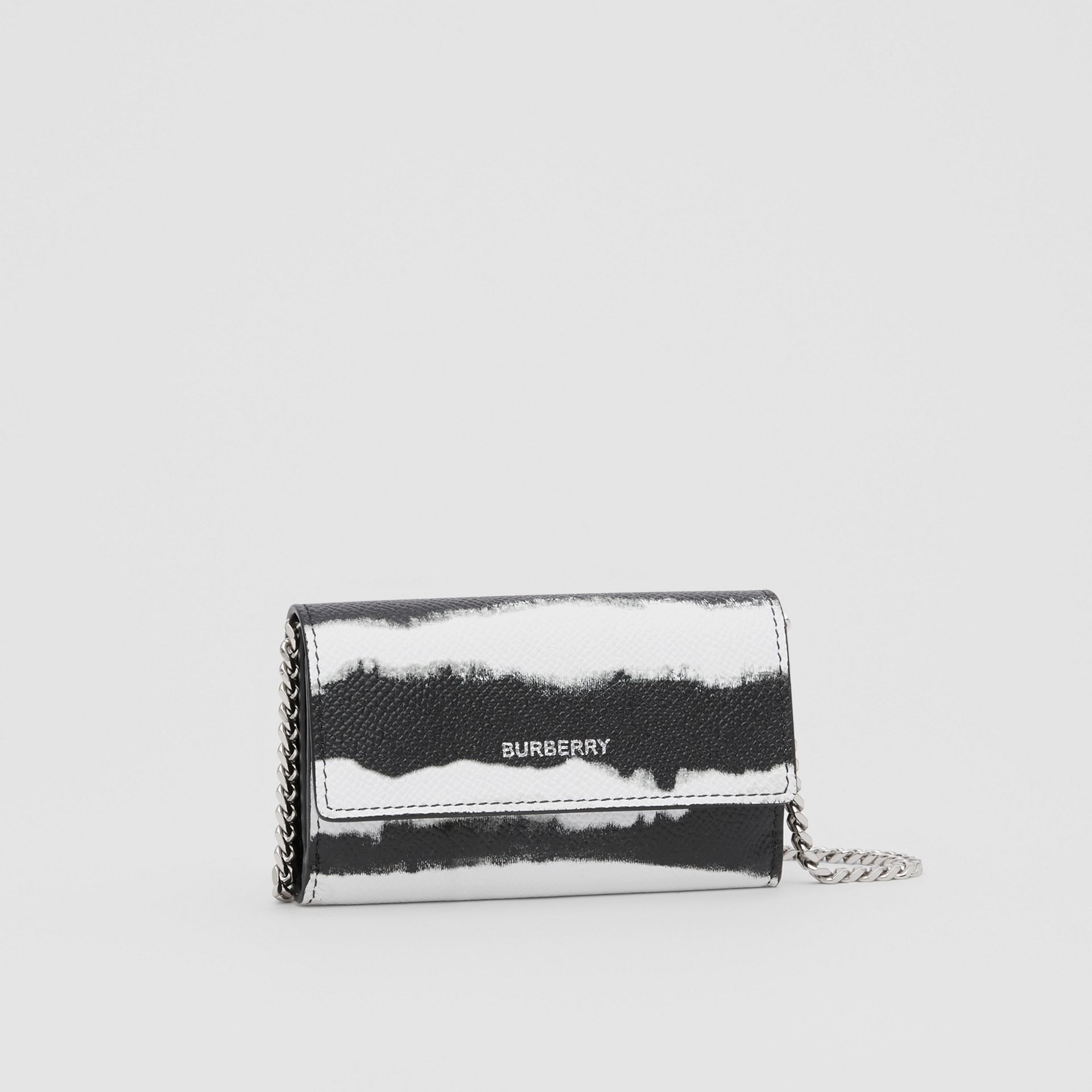 Small Watercolour Print Wallet with Detachable Strap in Black/white | Burberry - gallery image 8