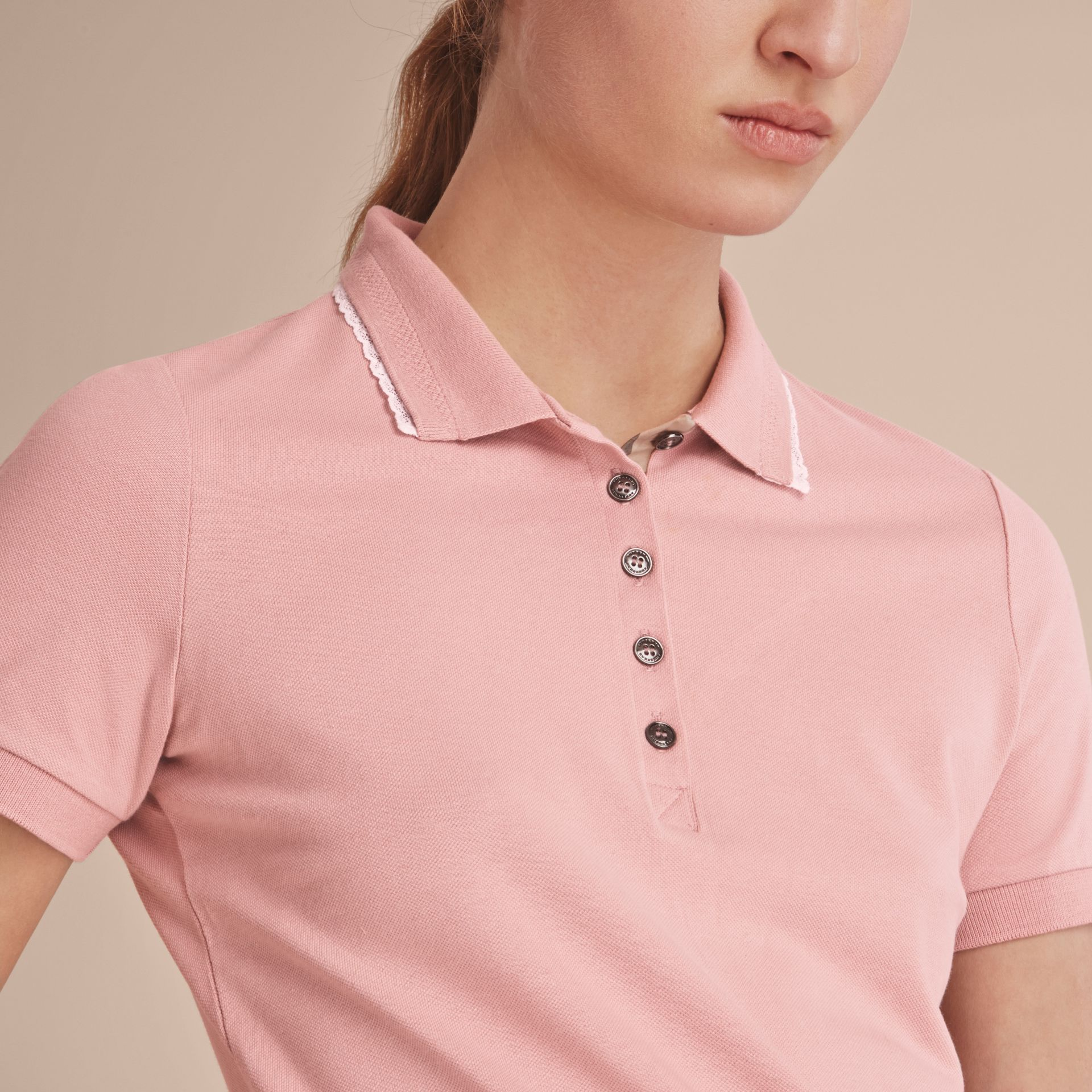 Lace Trim Cotton Blend Polo Shirt with Check Detail in Nude - Women | Burberry - gallery image 5