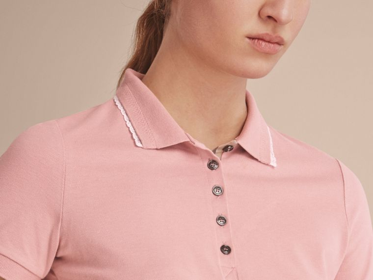 Lace Trim Cotton Blend Polo Shirt with Check Detail in Nude - Women | Burberry - cell image 4