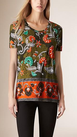 Patchwork Floral Print Cotton T-shirt