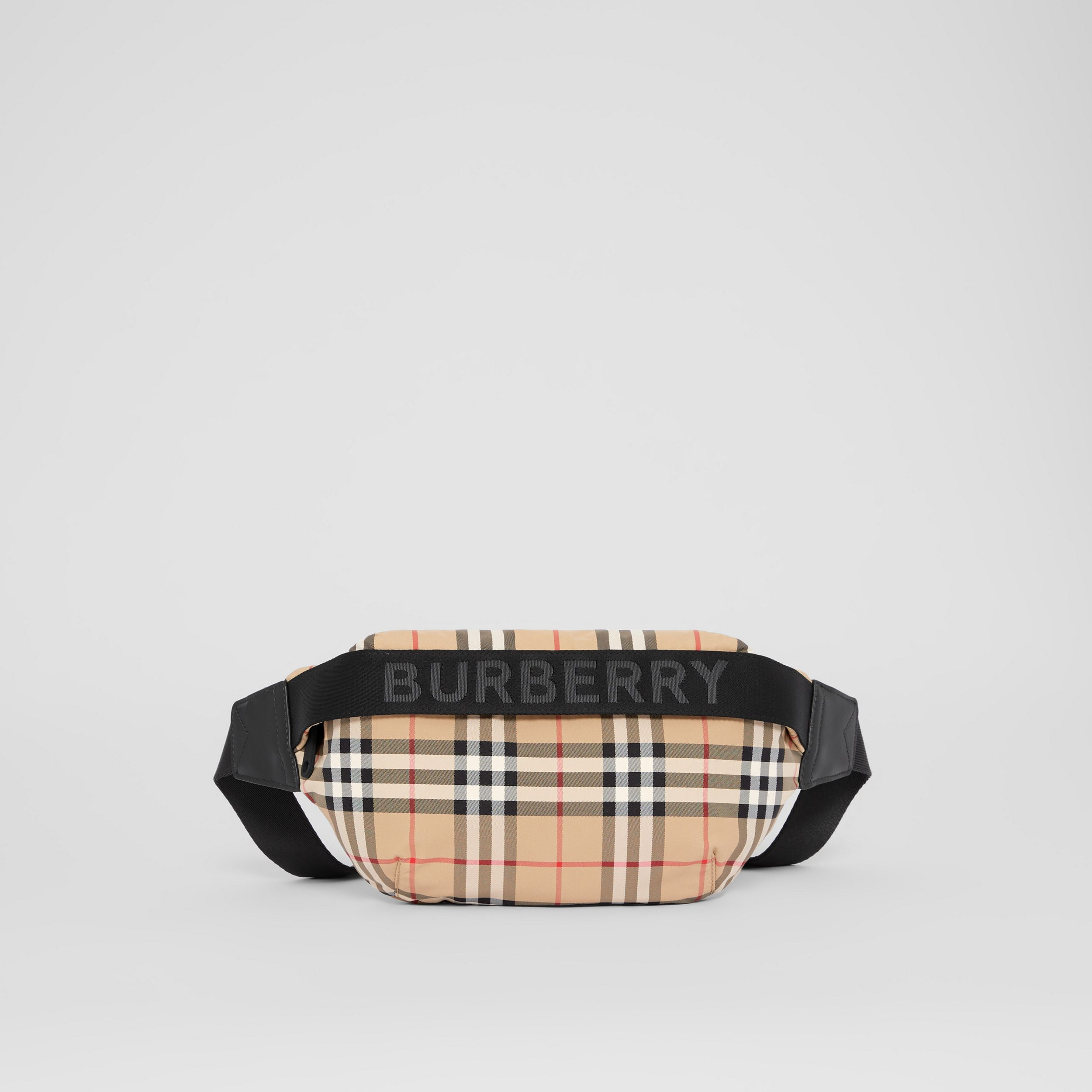 Medium Vintage Check and Icon Stripe Bum Bag in Archive Beige | Burberry - 1