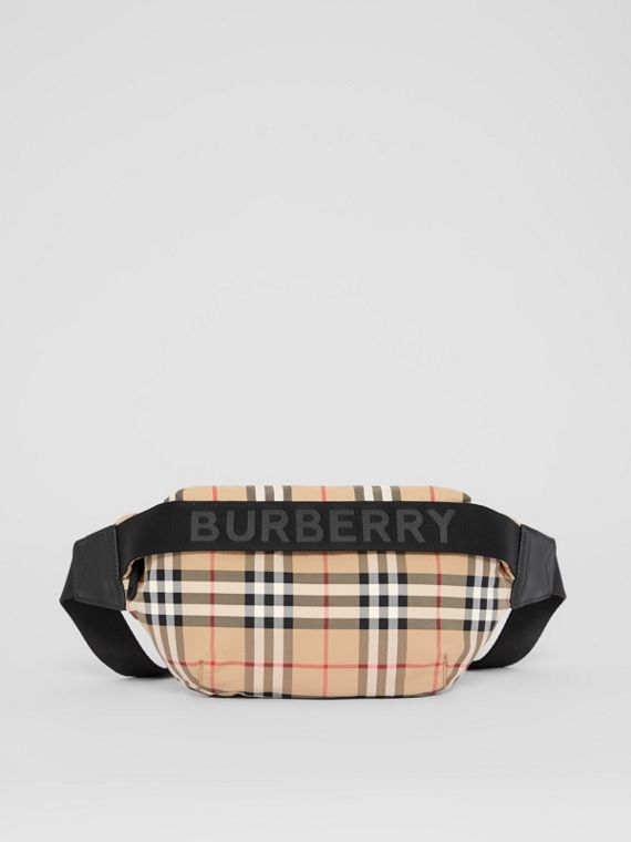 Medium Vintage Check and Icon Stripe Bum Bag in Archive Beige