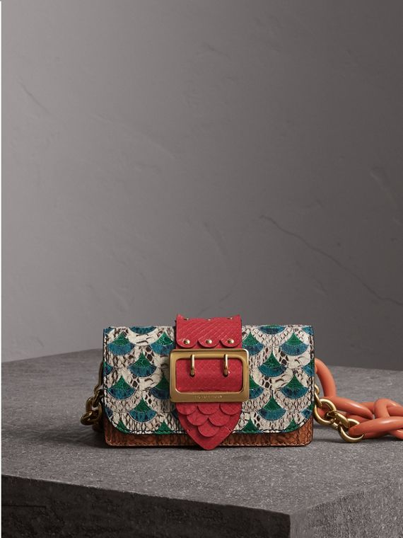 The Small Buckle Bag in Scallop Trim Snakeskin and Ostrich in Natural