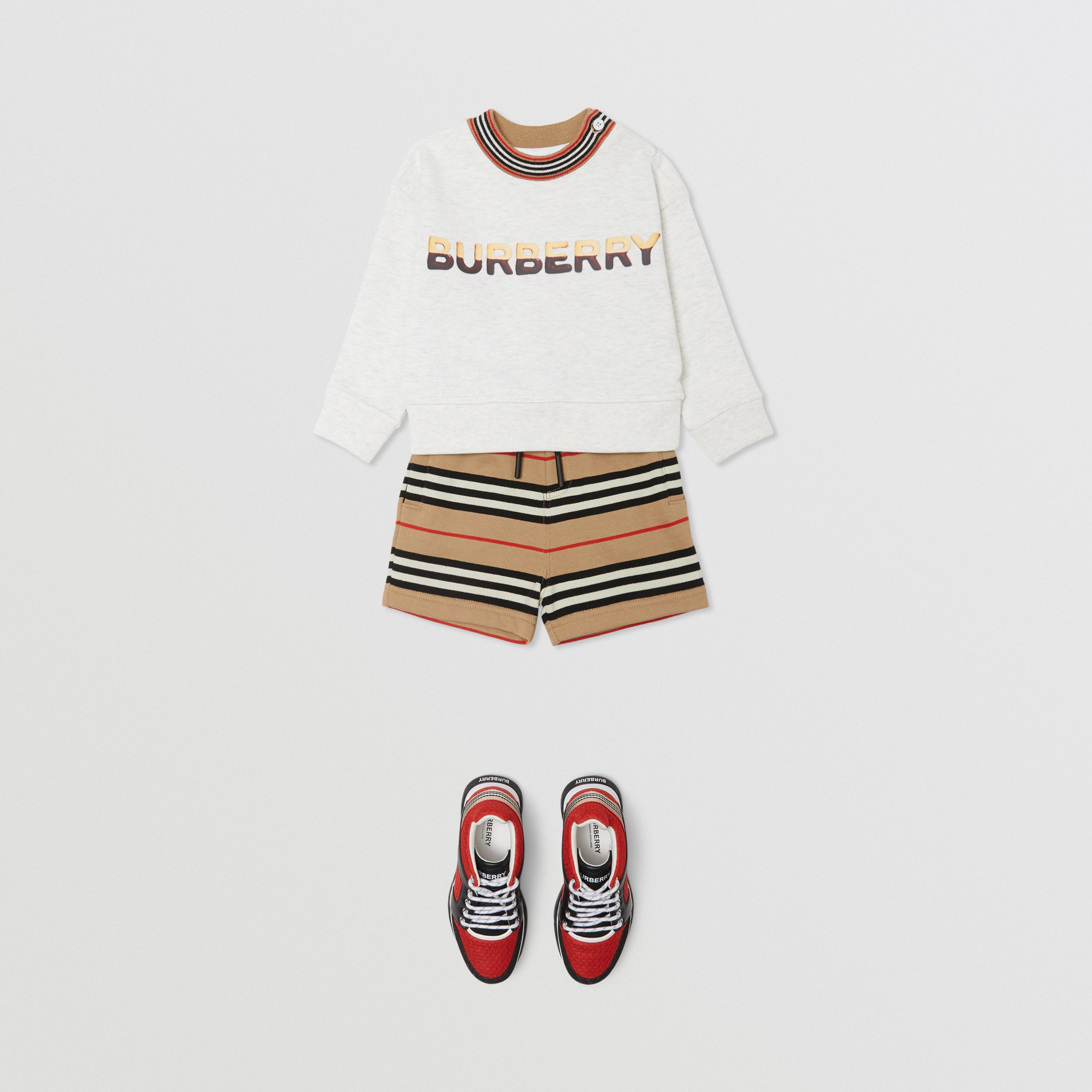 Confectionery Logo Print Cotton Sweatshirt in White Melange - Children | Burberry - 4