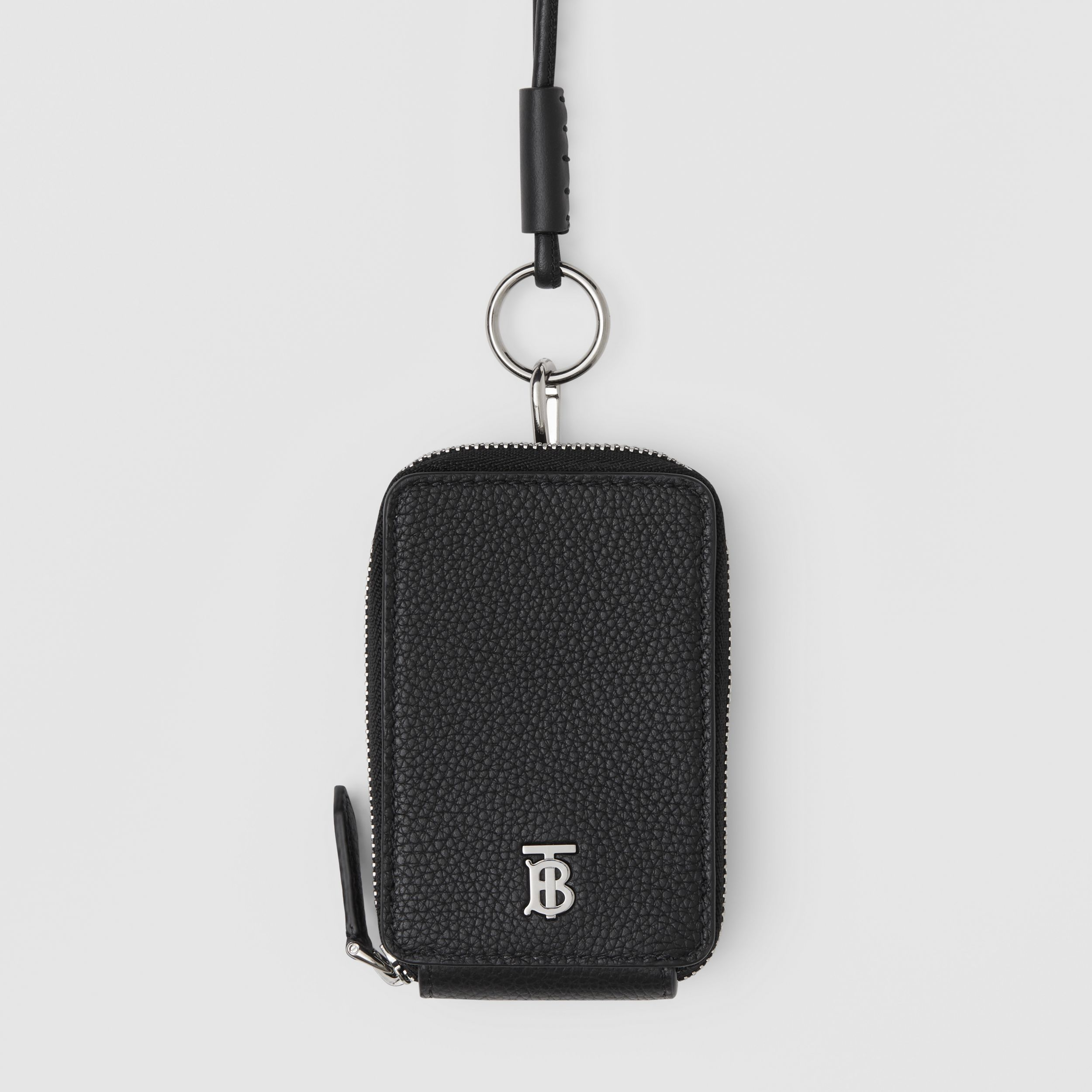 Grainy Leather Card Case Lanyard in Black - Men | Burberry - 2