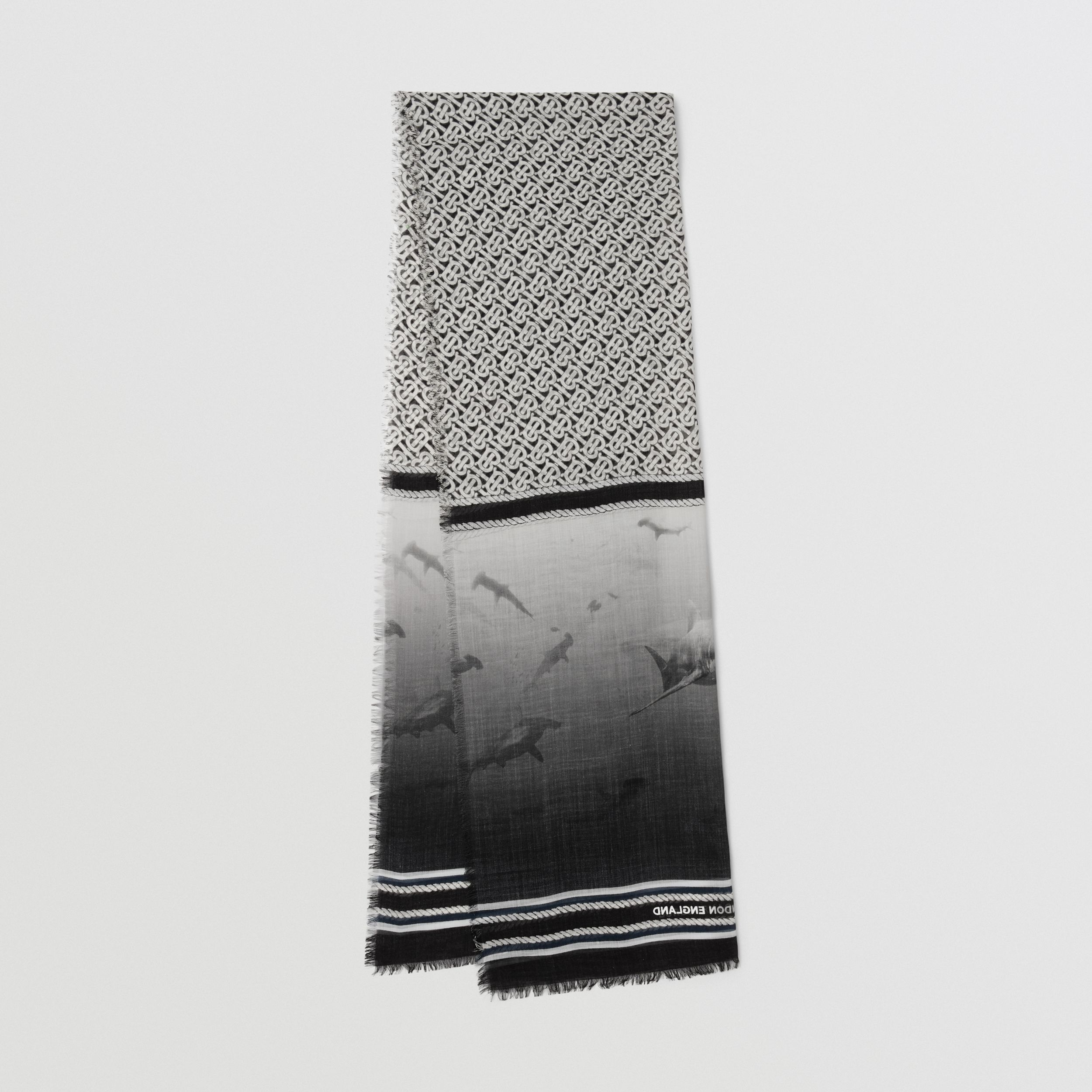 Montage Print Silk Wool Scarf in Monochrome | Burberry - 1