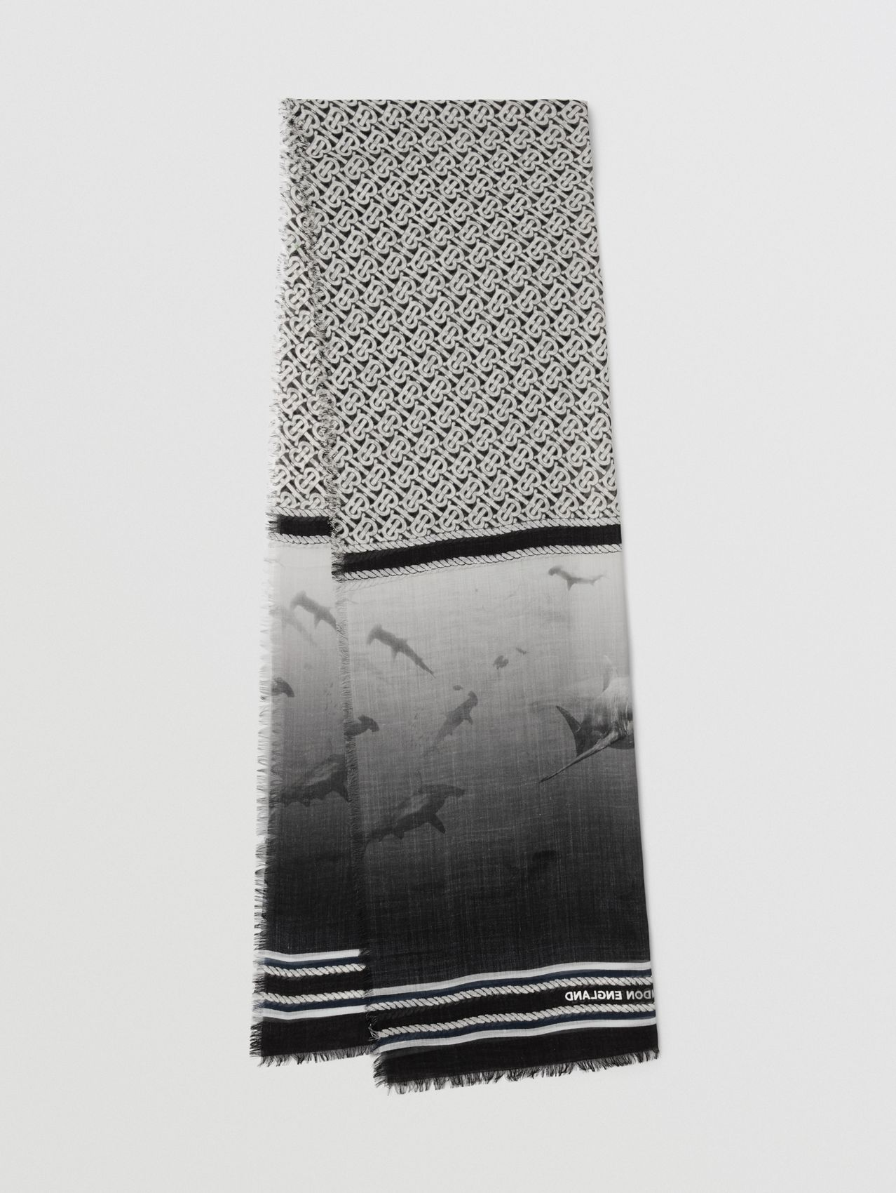 Montage Print Silk Wool Scarf in Monochrome