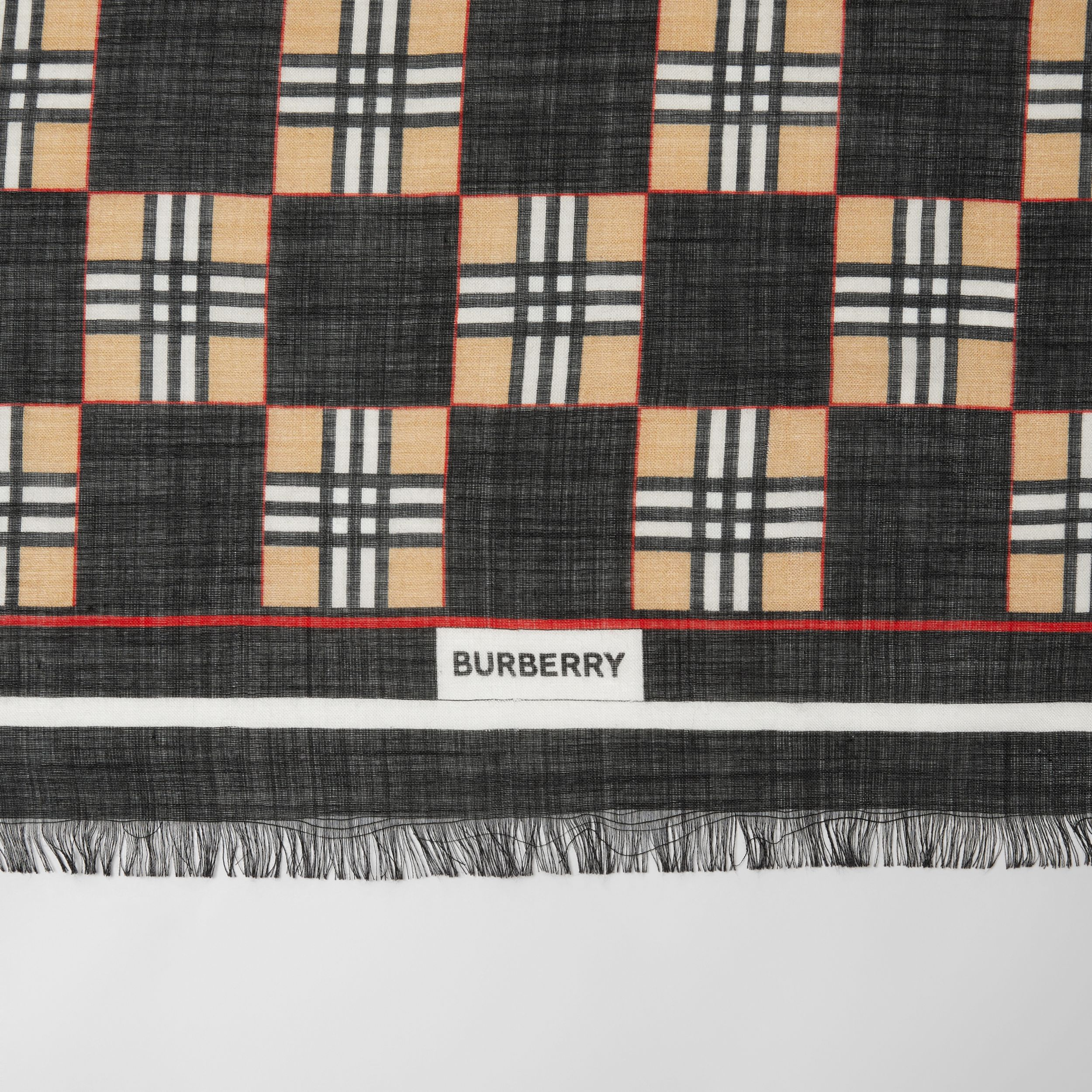 Chequer Print Wool Silk Scarf in Black | Burberry United Kingdom - 2