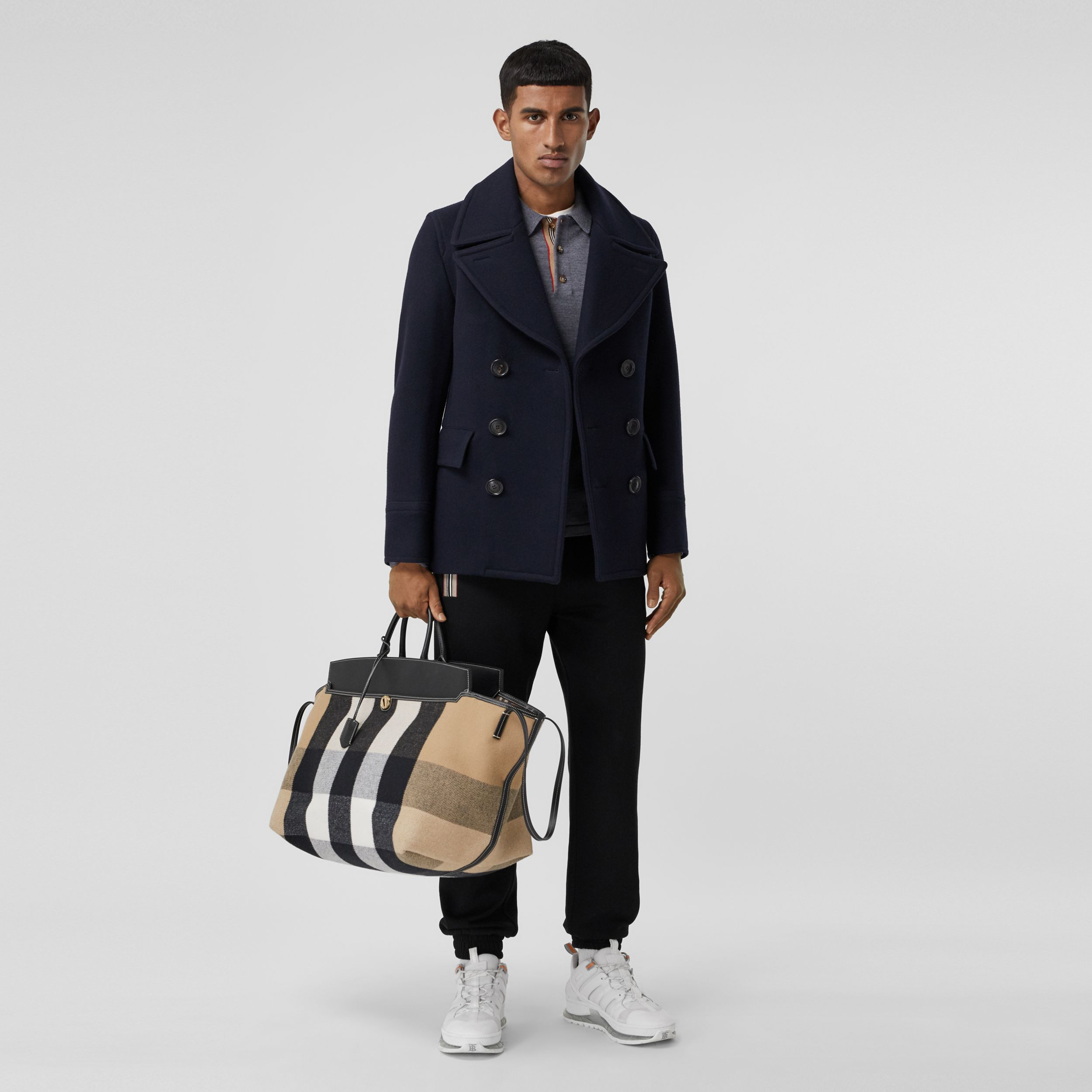 Wool Blend Pea Coat in Navy - Men | Burberry - 1