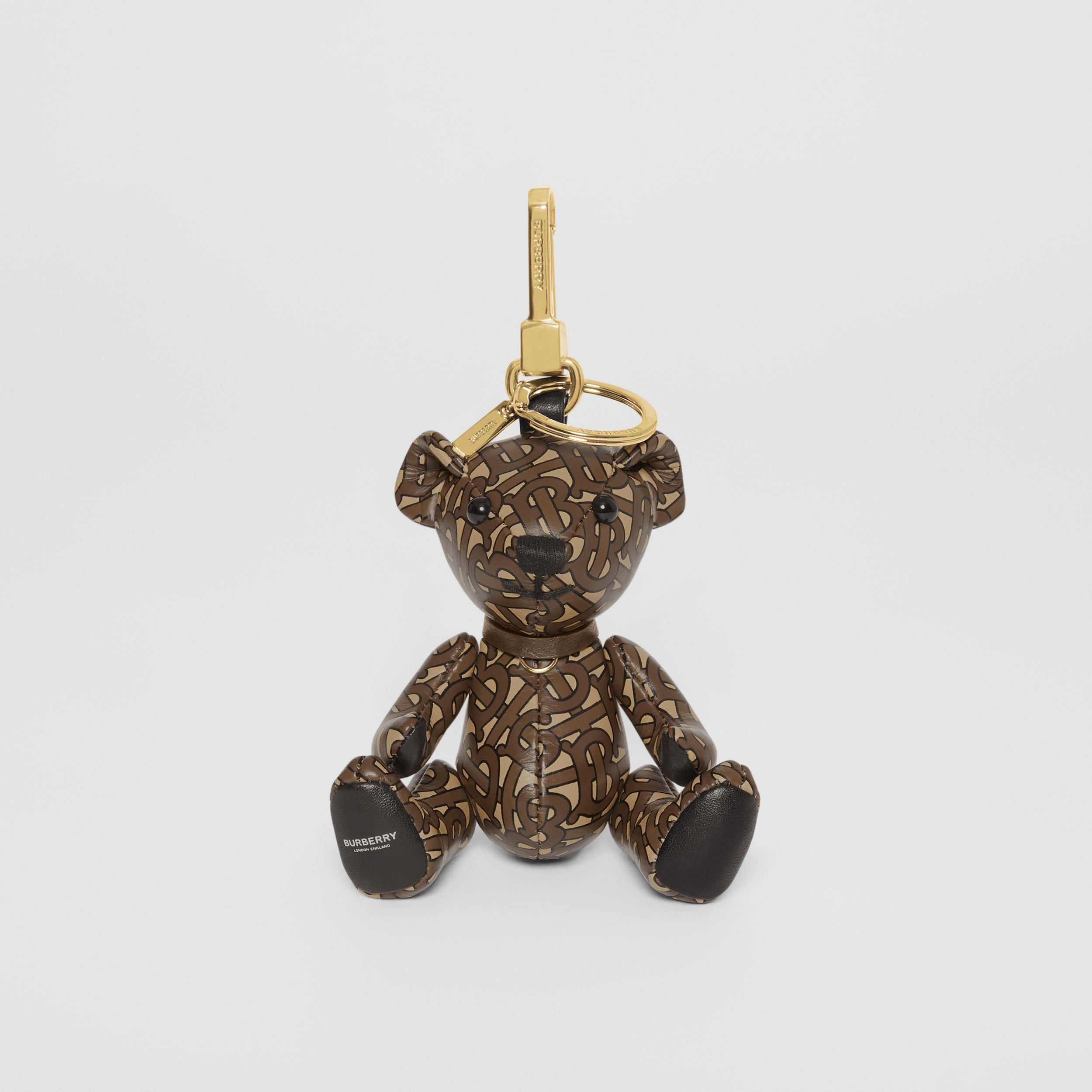 Thomas Bear Charm in Monogram Print Leather in Bridle Brown | Burberry - 3