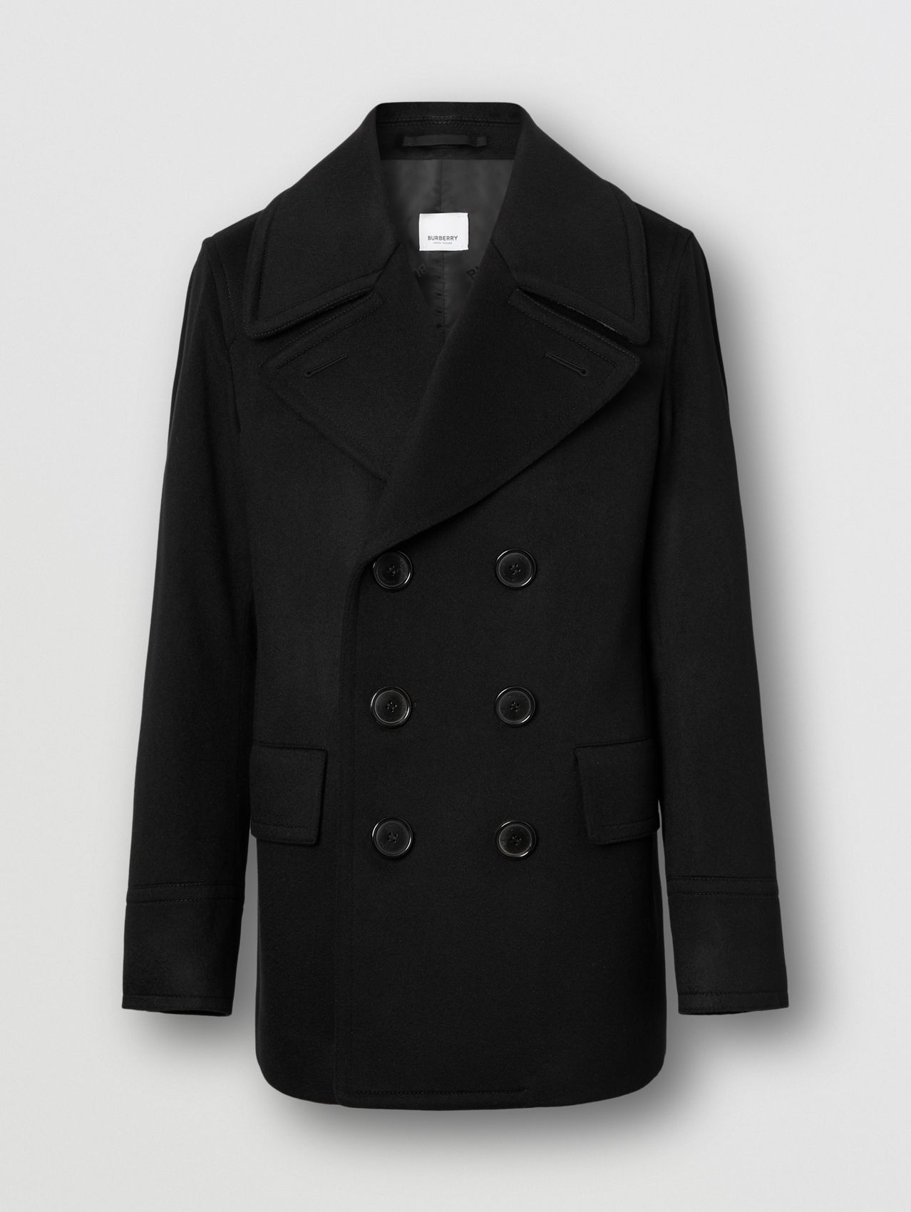 Cashmere Pea Coat in Black