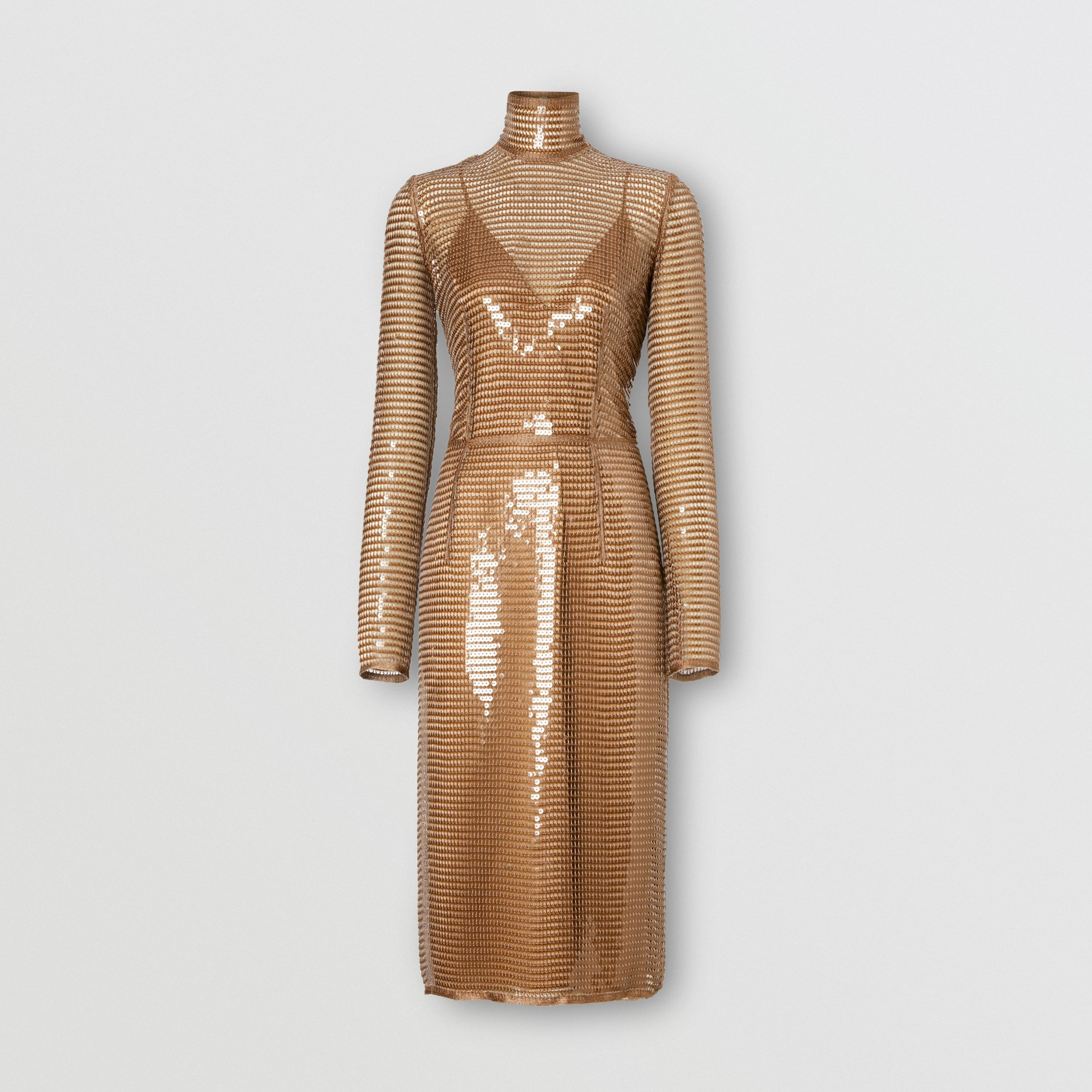 Sequinned Mesh and Silk Turtleneck Dress in Bronze - Women | Burberry - 4