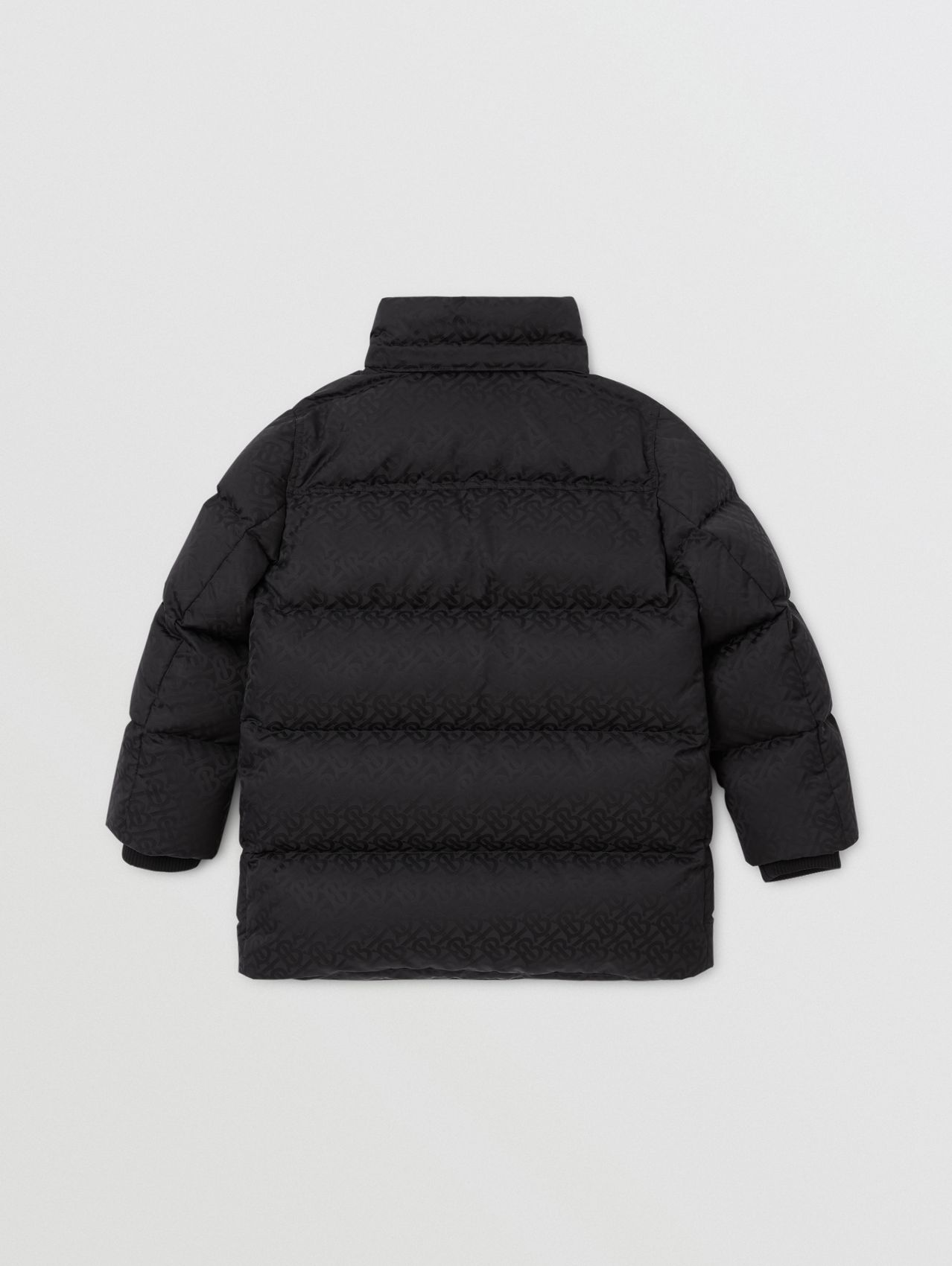Detachable Hood Monogram Jacquard Puffer Coat in Black