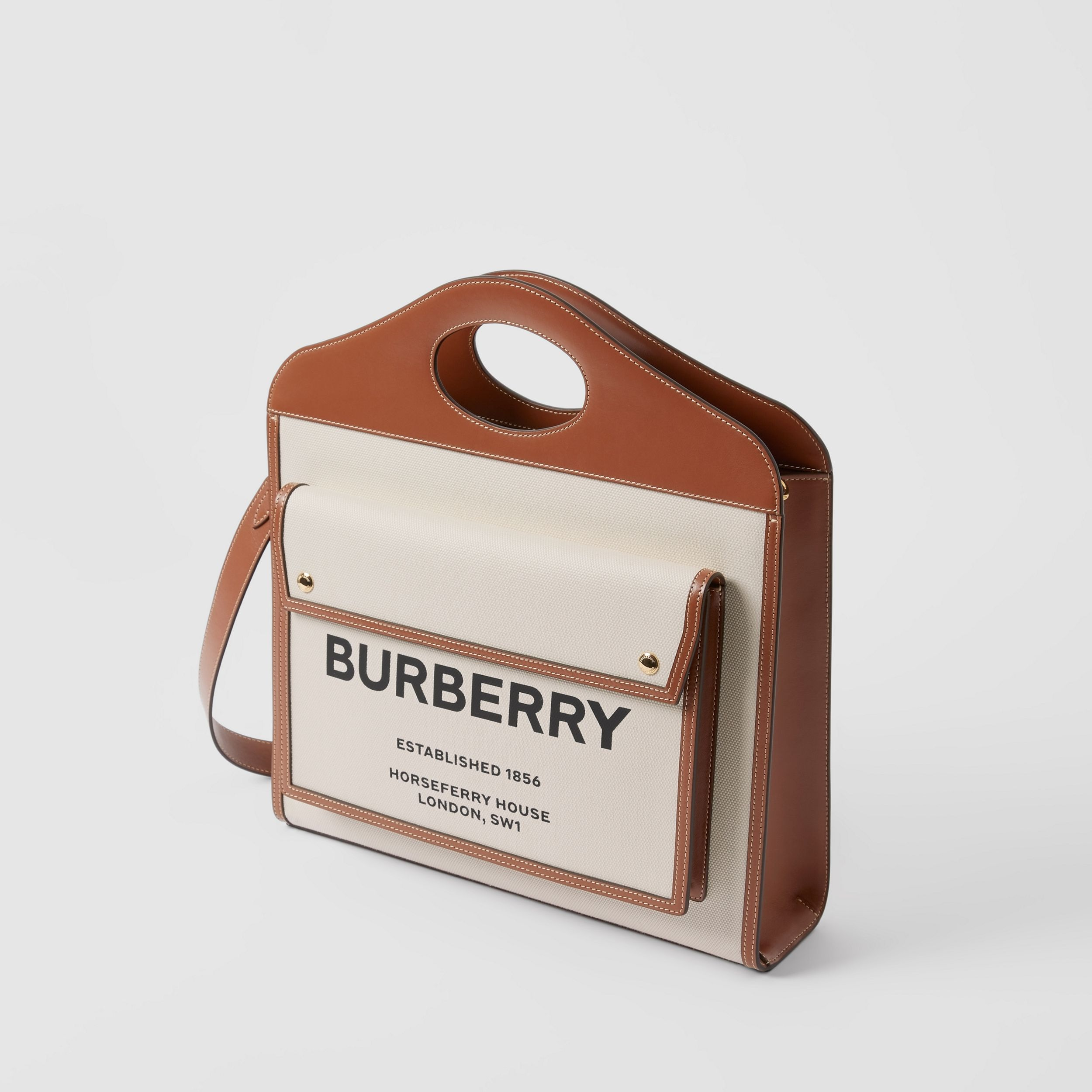 Borsa Pocket media bicolore in tela e pelle (Naturale/marrone Malto) - Donna | Burberry - 3