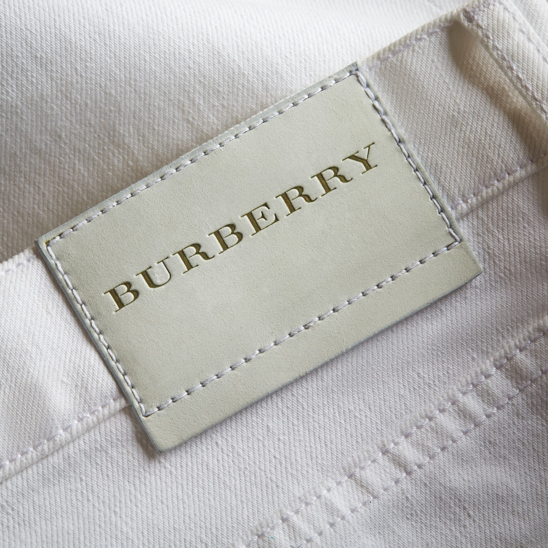 Straight Fit Stretch Japanese Denim Jeans in White - Men | Burberry - gallery image 2