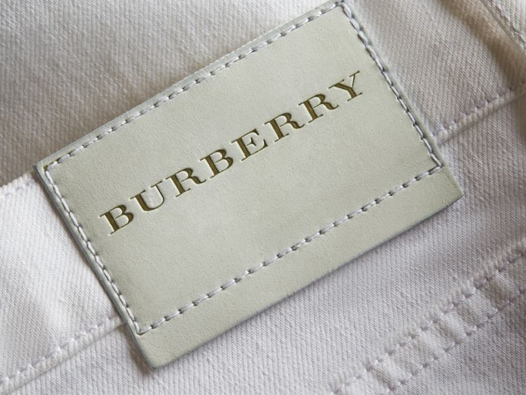 Straight Fit Stretch Japanese Denim Jeans in White - Men | Burberry - cell image 1