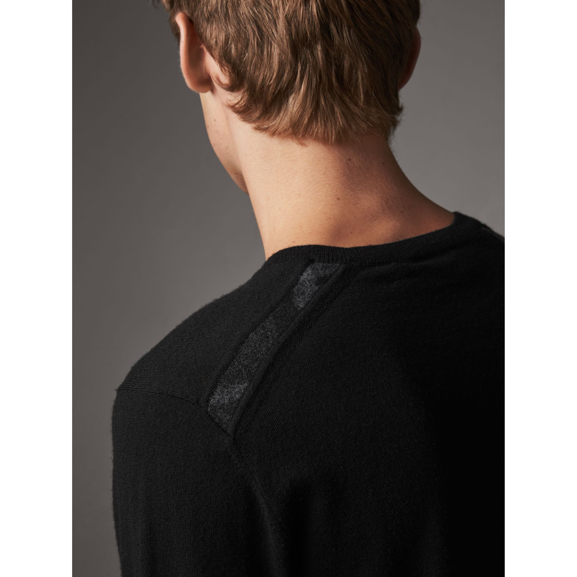 Check Jacquard Detail Cashmere Sweater in Black - Men | Burberry - gallery image 1