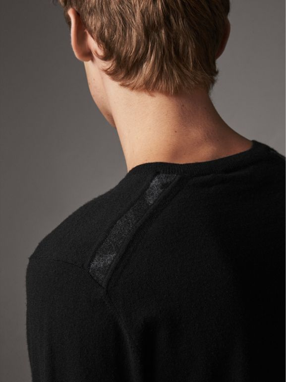 Check Jacquard Detail Cashmere Sweater in Black - Men | Burberry United States - cell image 1