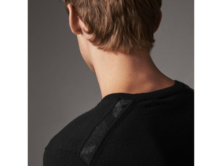 Check Jacquard Detail Cashmere Sweater in Black - Men | Burberry United Kingdom - cell image 1