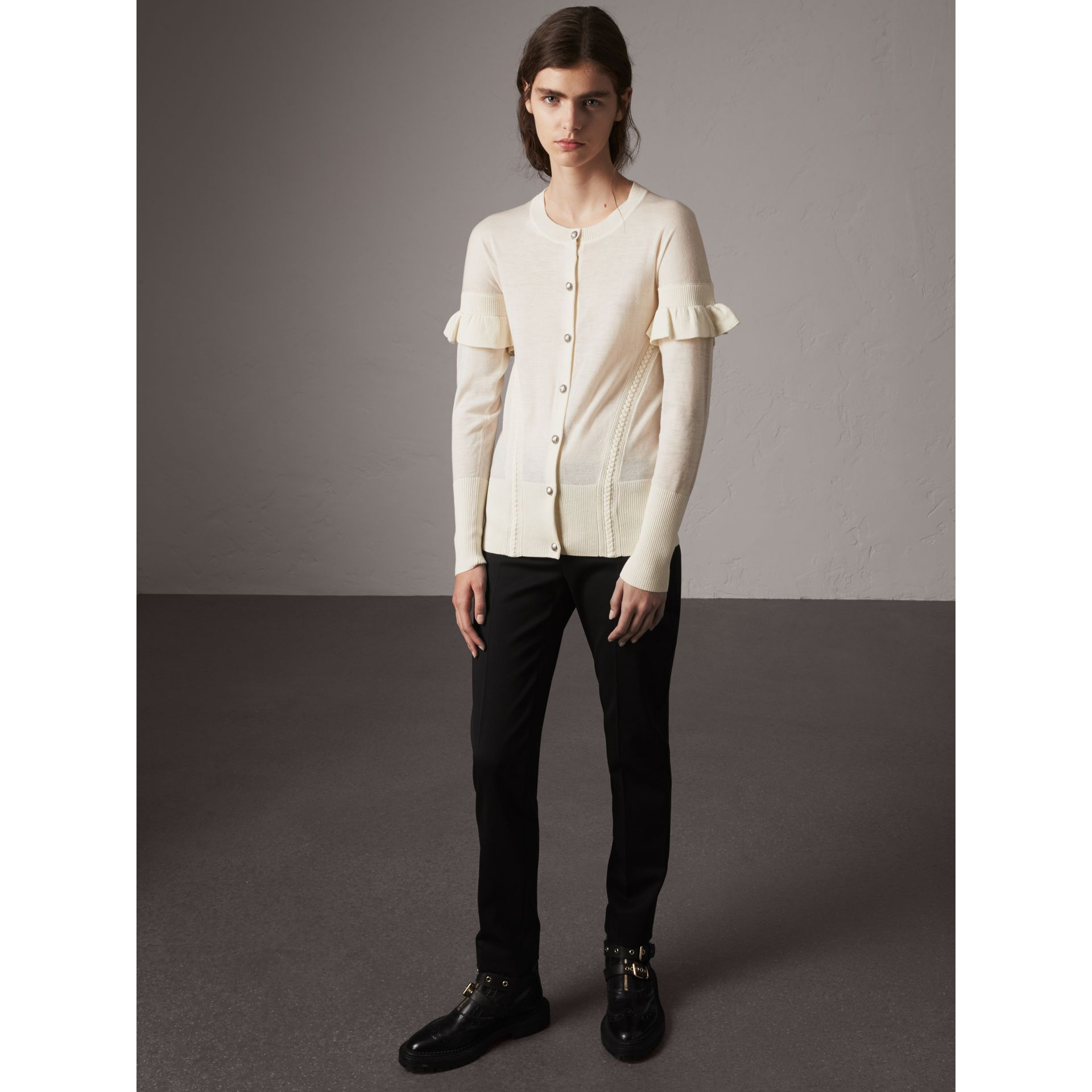 Ruffle-sleeve Braid Detail Wool Cashmere Cardigan in Natural White - Women | Burberry - gallery image 0