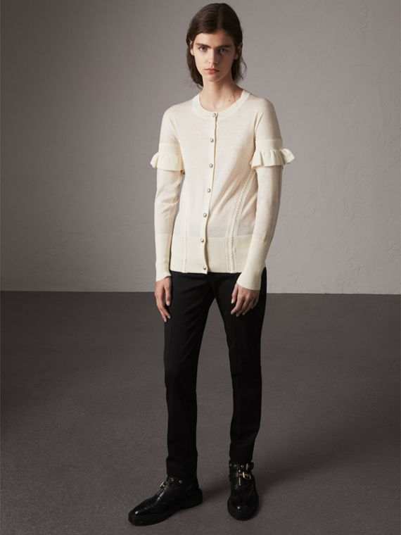 Ruffle-sleeve Braid Detail Wool Cashmere Cardigan in Natural White