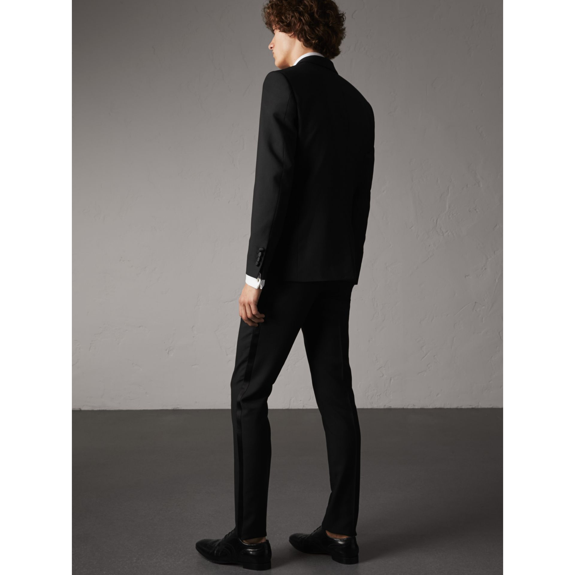 Slim Fit Wool Mohair Half-canvas Tuxedo in Black - Men | Burberry United Kingdom - gallery image 2
