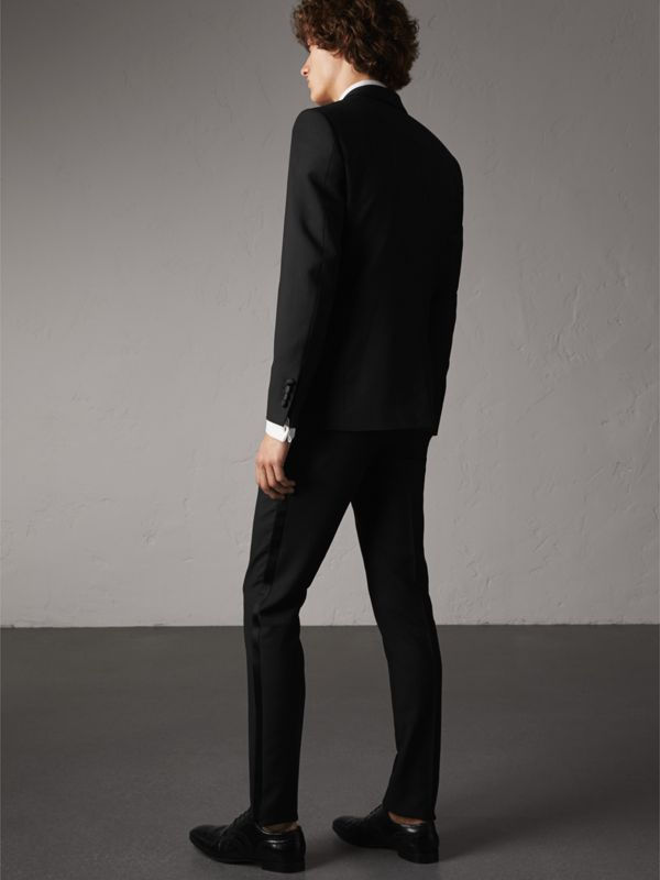 Slim Fit Wool Mohair Half-canvas Tuxedo in Black - Men | Burberry United Kingdom - cell image 2