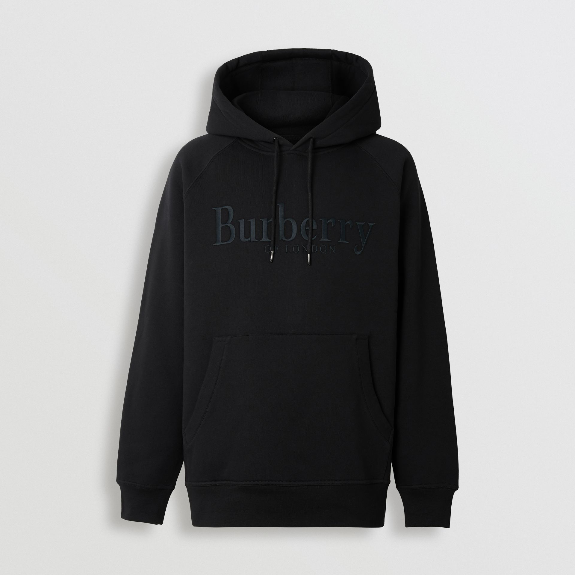 Embroidered Logo Jersey Hoodie in Black - Men | Burberry Hong Kong S.A.R - gallery image 3