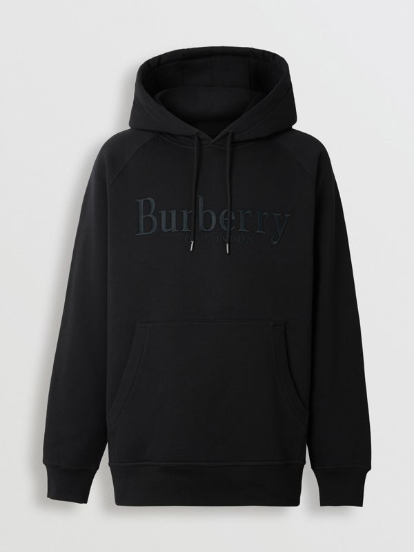 Embroidered Logo Jersey Hoodie in Black - Men | Burberry Hong Kong S.A.R - cell image 3