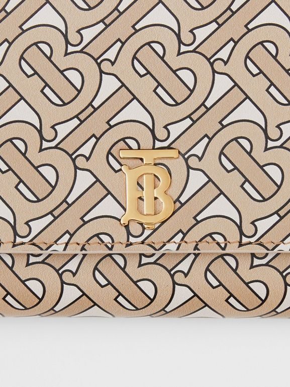 Monogram Print Leather Wallet with Detachable Strap in Beige - Women | Burberry United Kingdom - cell image 1