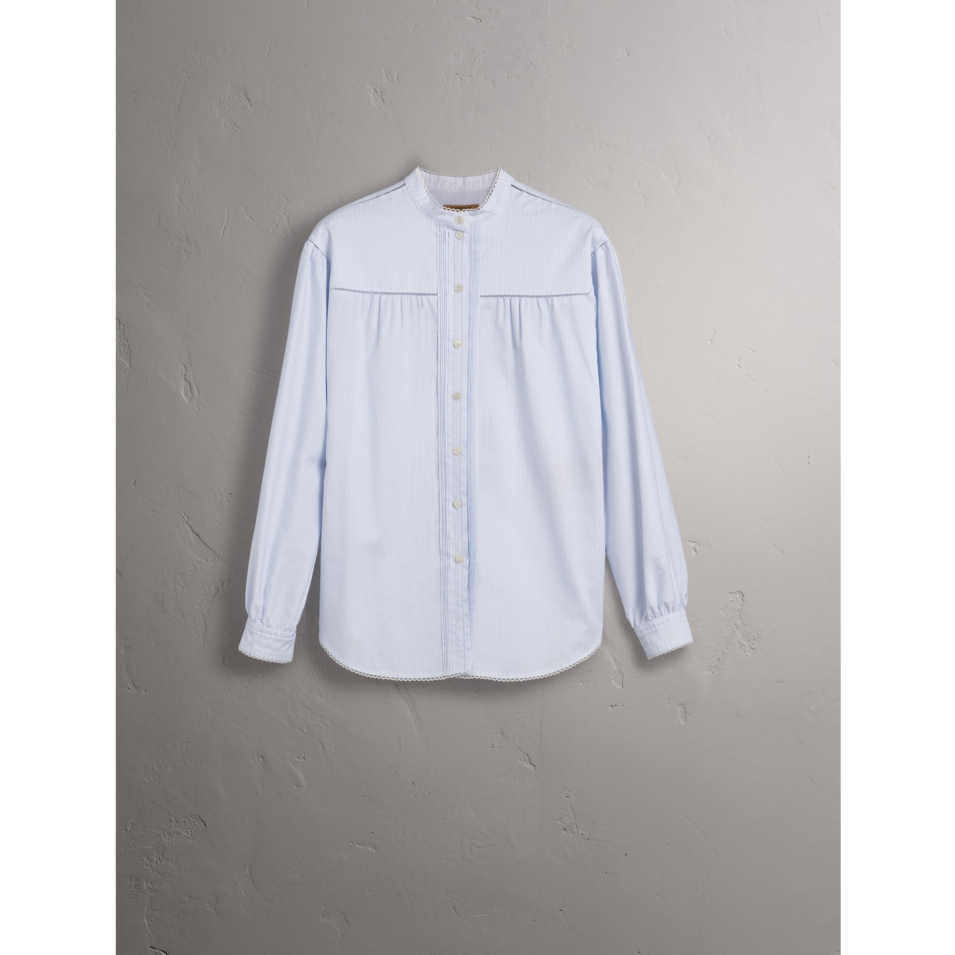 Open-stitch and Pintuck Detail Striped Cotton Shirt in Light Blue - Women | Burberry - gallery image 3