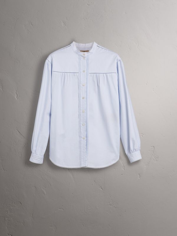 Open-stitch and Pintuck Detail Striped Cotton Shirt in Light Blue - Women | Burberry - cell image 3