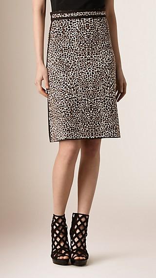 Leopard Jacquard Silk Blend Skirt
