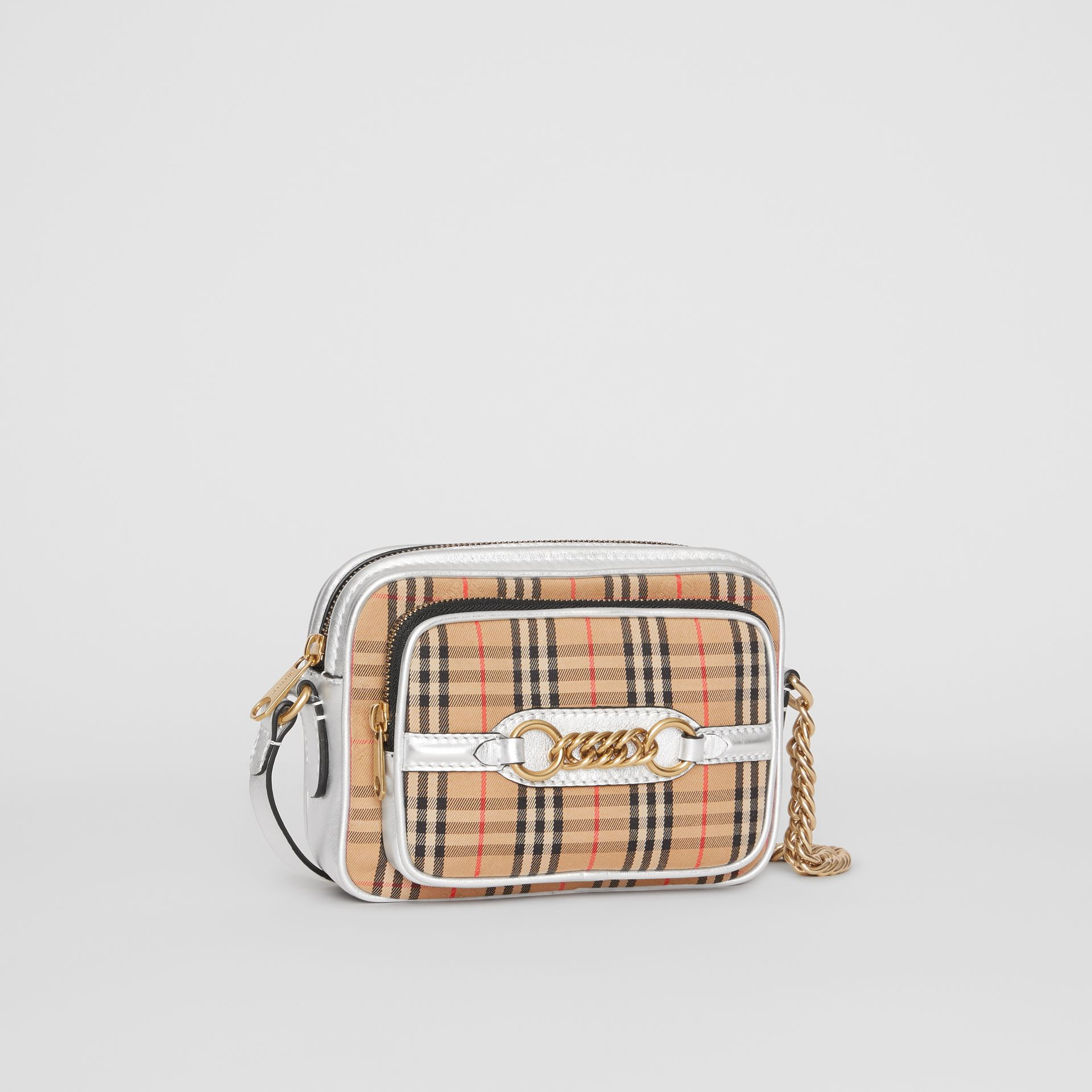 The 1983 Check Link Camera Bag in Silver - Women | Burberry Australia - gallery image 6