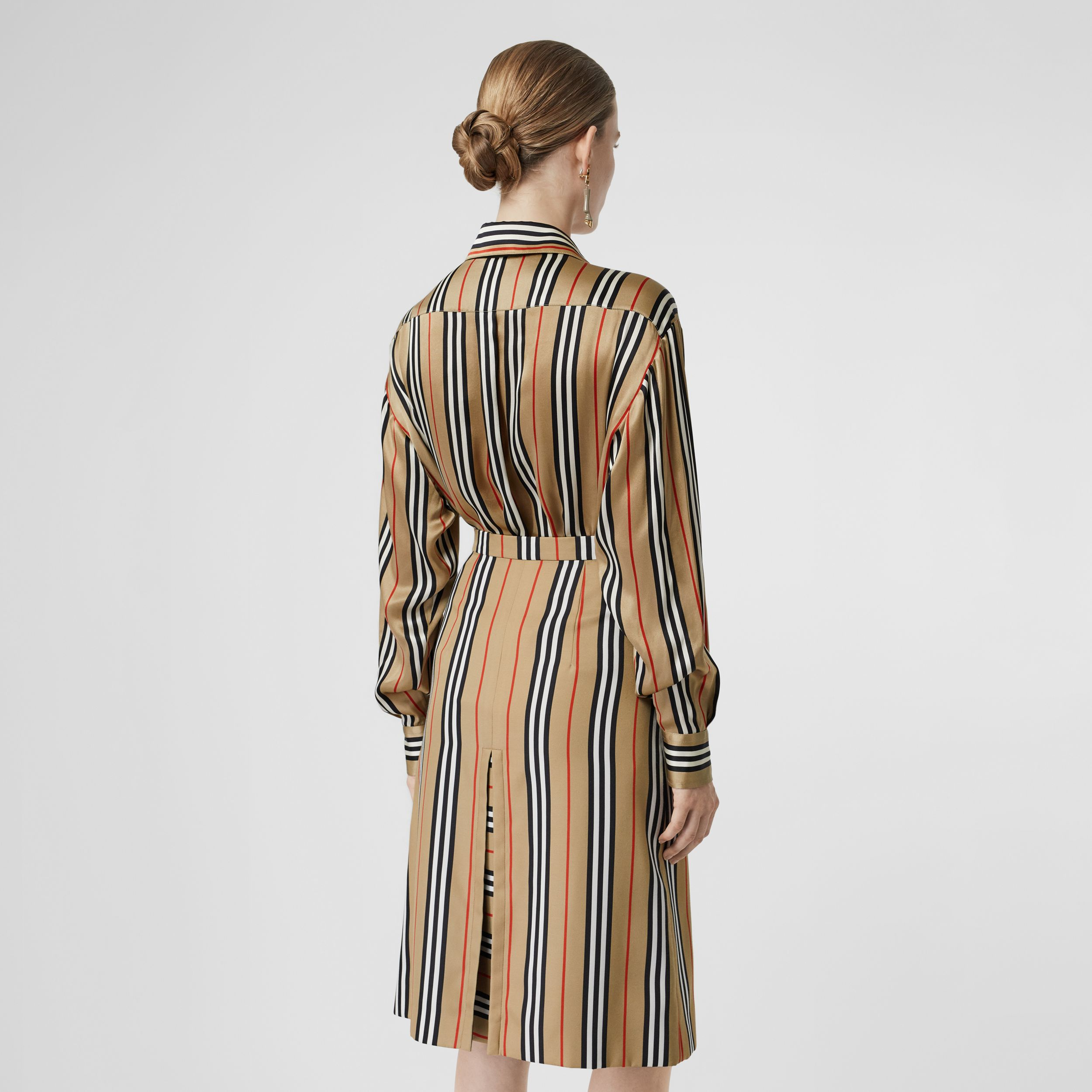 Icon Stripe Silk Shirt in Archive Beige - Women | Burberry - 3