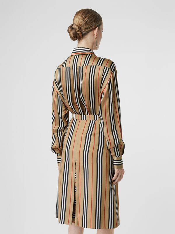 Icon Stripe Silk Shirt in Archive Beige - Women | Burberry United Kingdom - cell image 2