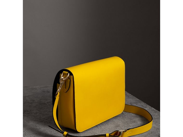 The Large Square Satchel in Leather in Bright Larch Yellow - Women | Burberry - cell image 4