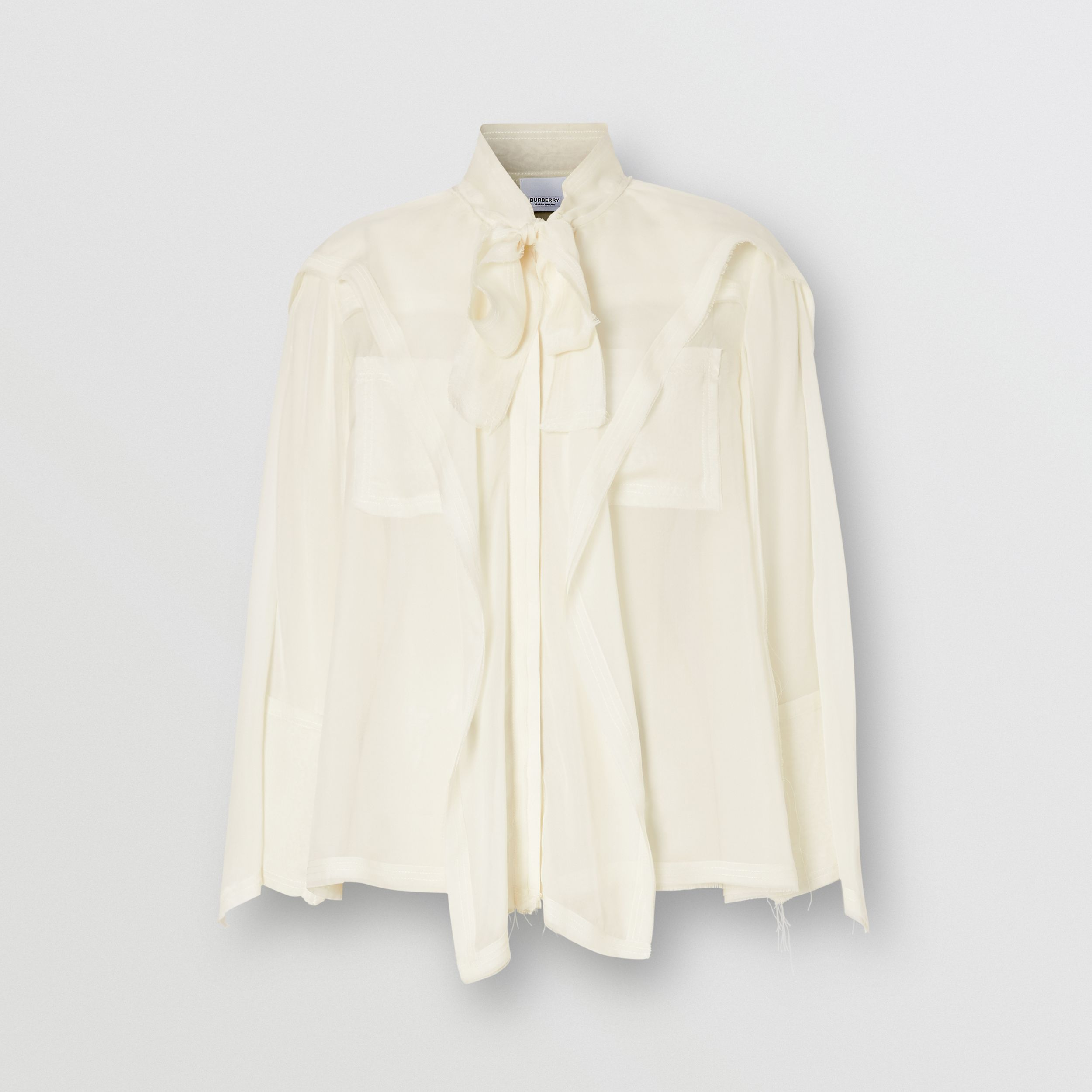 Ruffled Silk Chiffon Pussy-bow Blouse in Ivory - Women | Burberry - 4