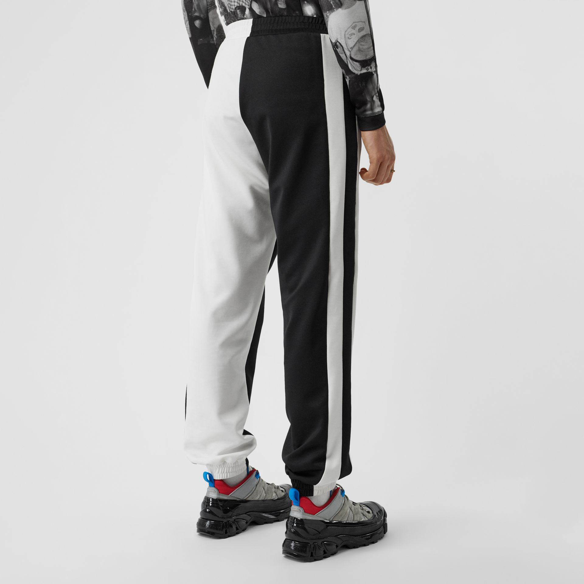 Logo Graphic Two-tone Jersey Trackpants in Black - Men | Burberry - gallery image 2
