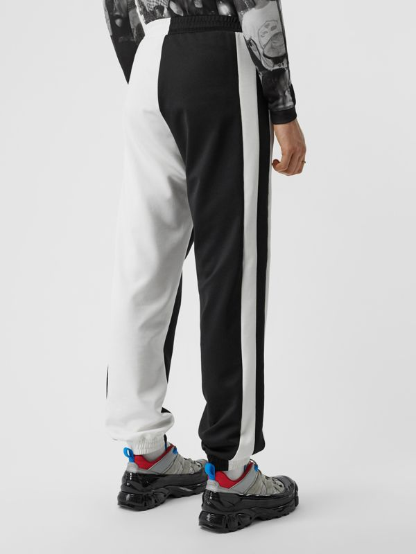 Logo Graphic Two-tone Jersey Trackpants in Black - Men | Burberry - cell image 2