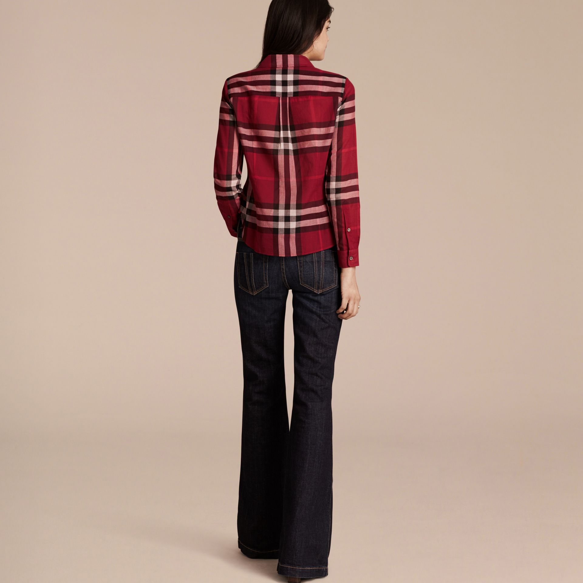 Poppy red Check Cotton Shirt Poppy Red - gallery image 3