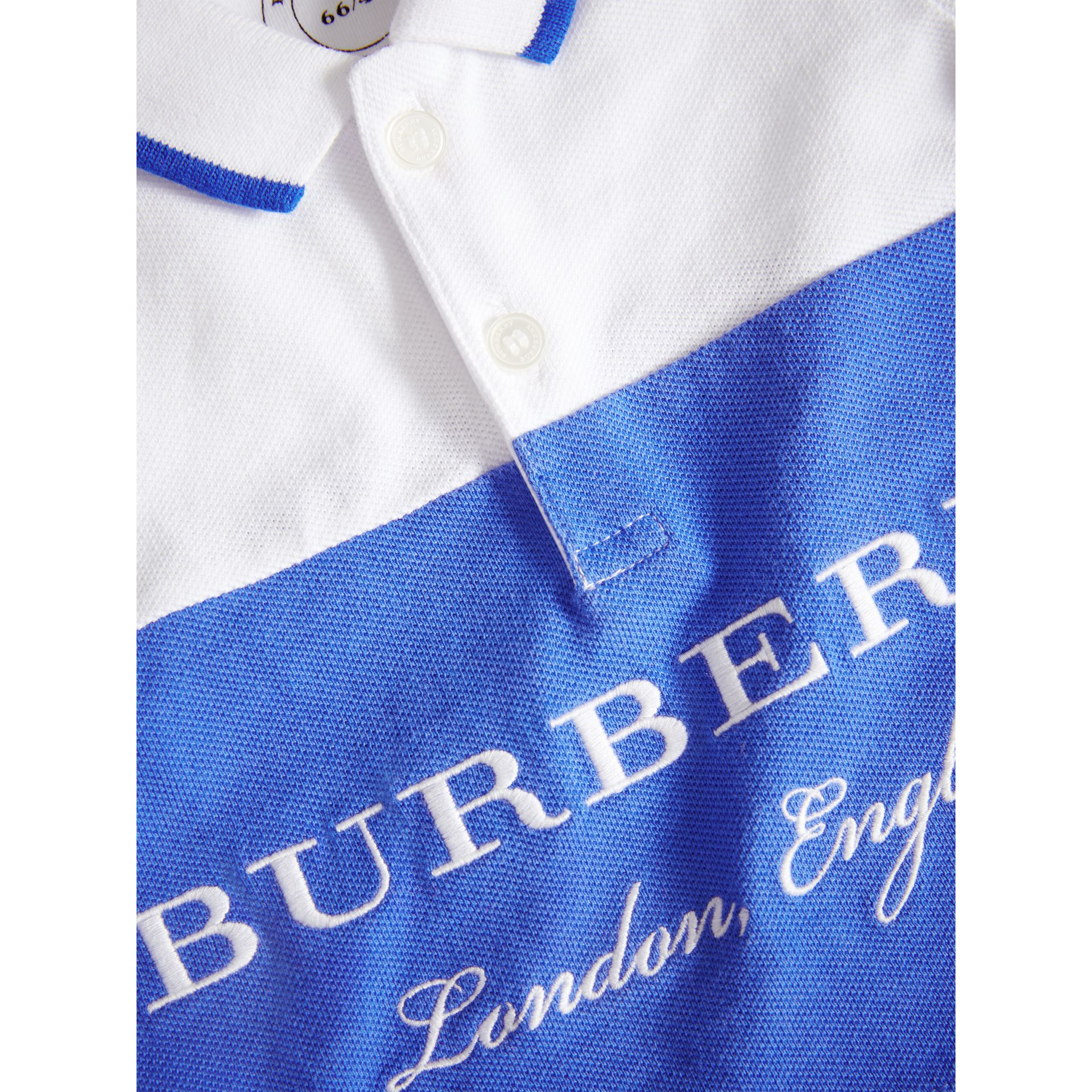 Tipped Cotton Piqué Polo Shirt in Cobalt Blue | Burberry Canada - gallery image 1