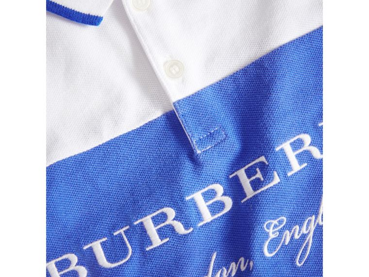 Tipped Cotton Piqué Polo Shirt in Cobalt Blue | Burberry - cell image 1