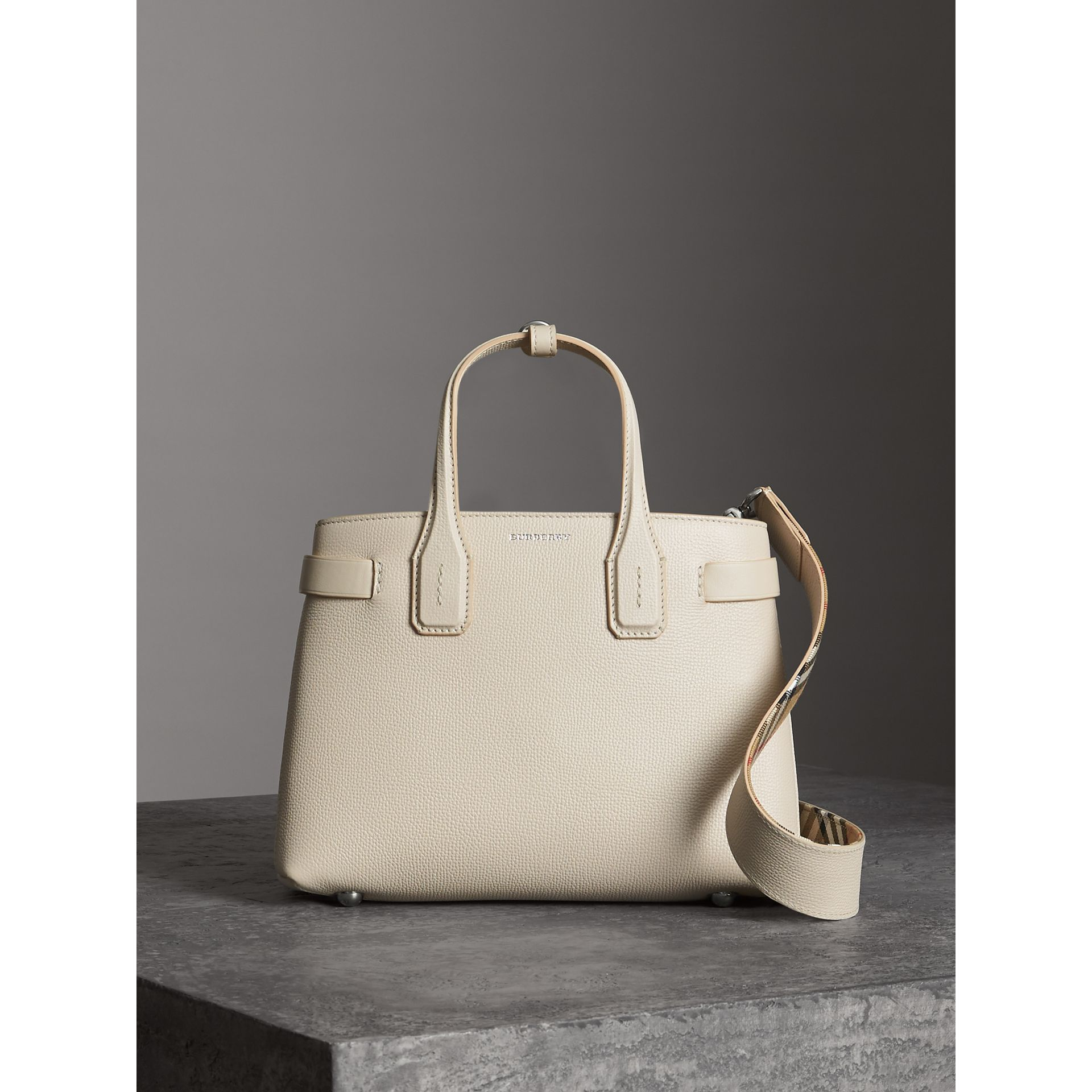 The Small Banner in Leather in Limestone - Women | Burberry Australia - gallery image 6