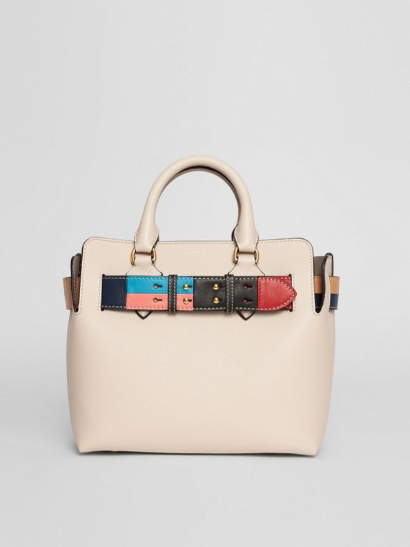 The Small Leather Colour Block Detail Belt Bag in Limestone