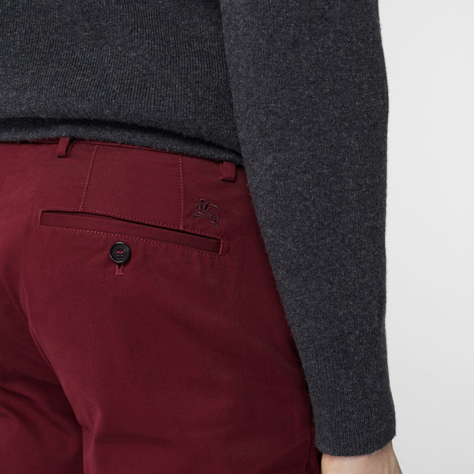 Slim Fit Cotton Chinos in Dark Crimson - Men | Burberry - gallery image 1