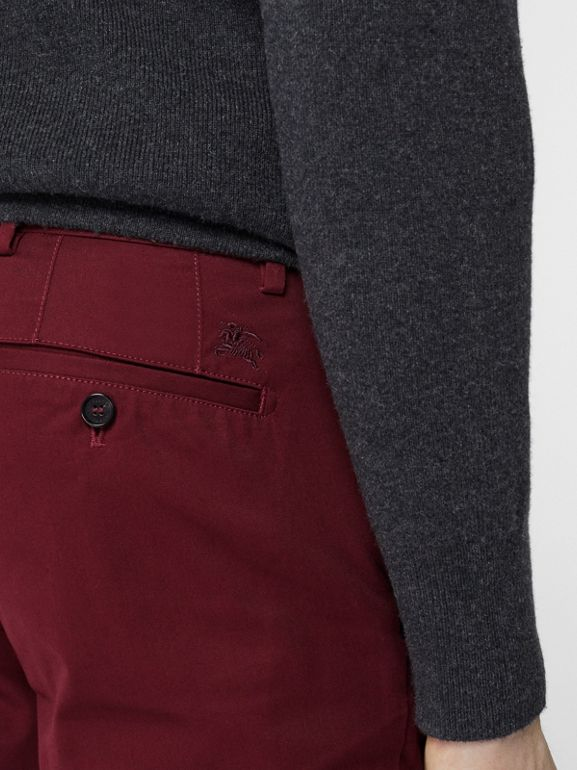 Slim Fit Cotton Chinos in Dark Crimson - Men | Burberry - cell image 1