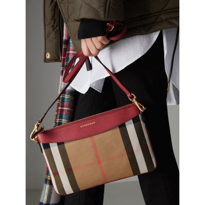 Burberry - Clutch en coton House check et cuir - 4
