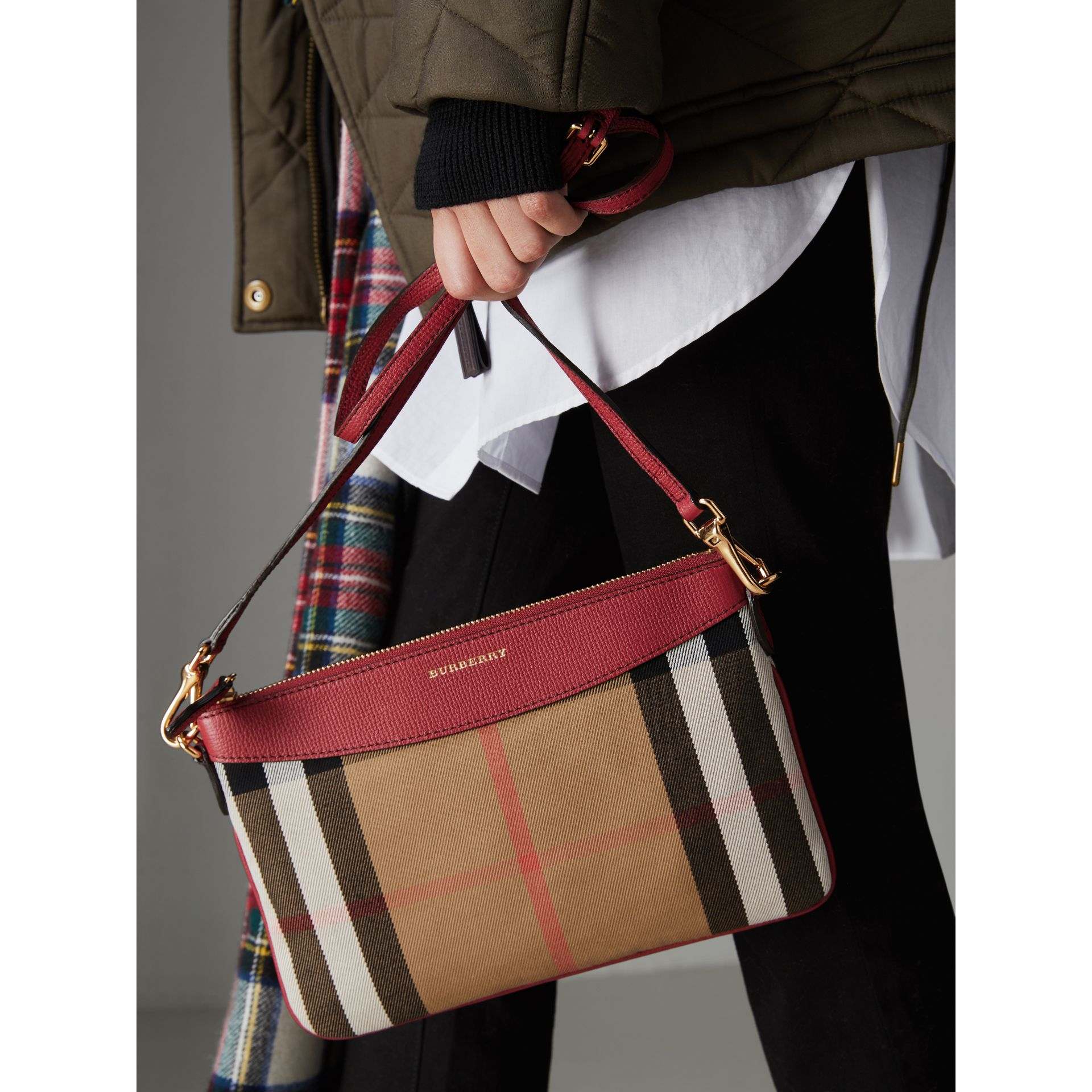 House Check and Leather Clutch Bag in Military Red - Women | Burberry United Kingdom - gallery image 3